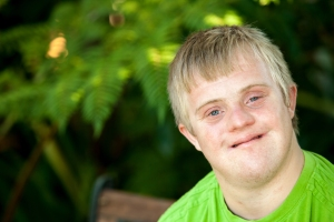 Portrait of Young Man with Down Syndrome